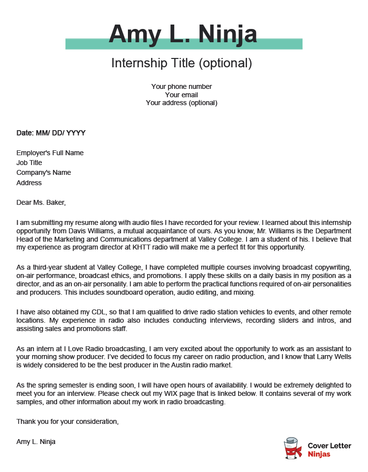 internship-cover-letter-example Sample Cover Letter Internship Application on for student engineering, computer science, for biology, for information technology, human resource, summer engineering, summer accounting, software engineer, for accounting,