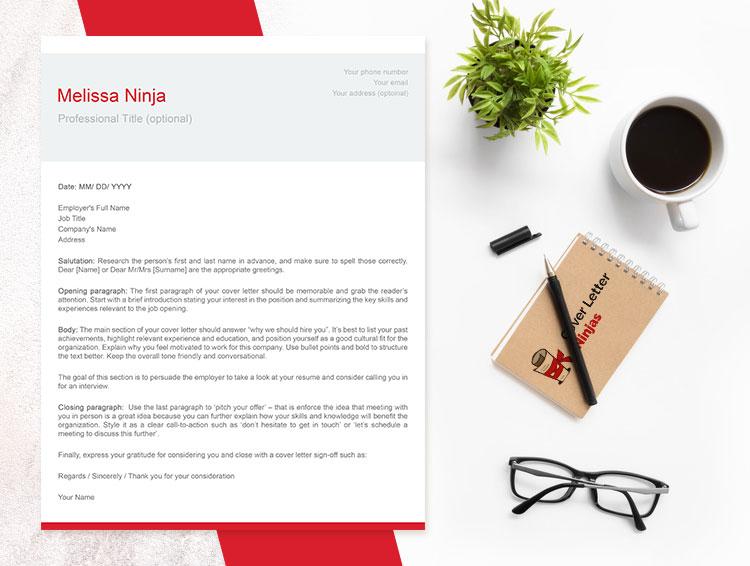 modern cover letter red