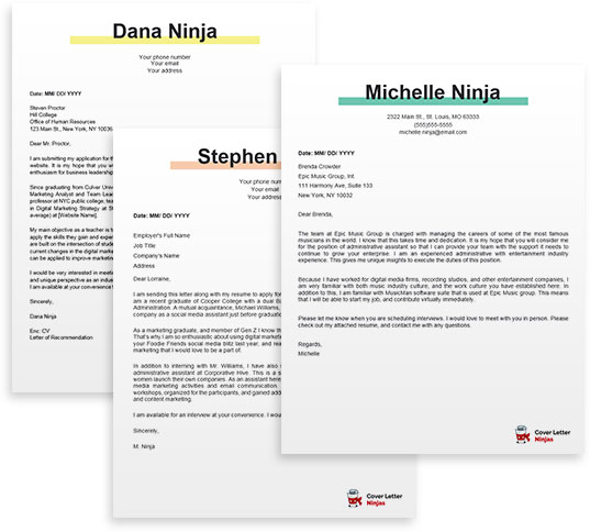 cover letter examples for Word