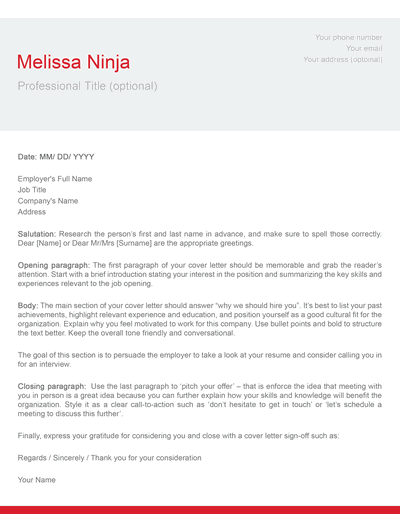 modern cover letter template red