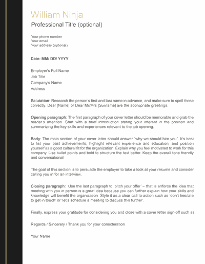 professional cover letter black and gold