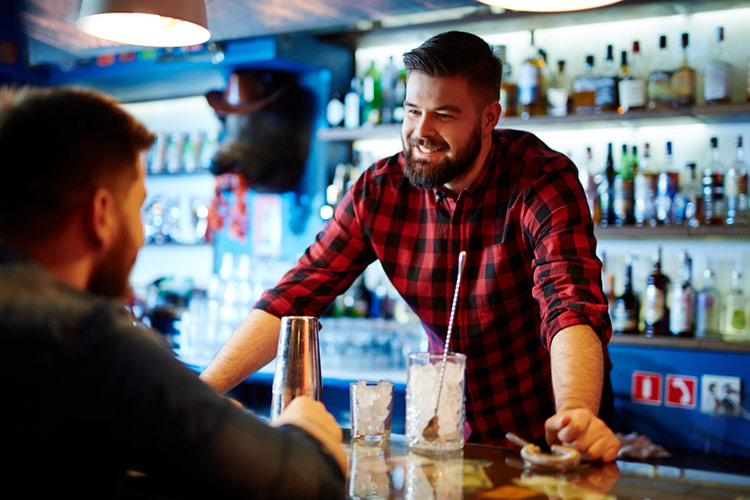 bartender with customer