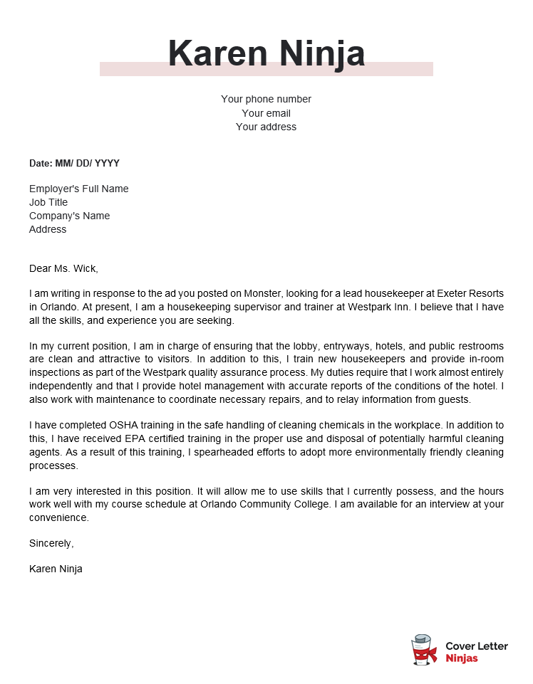 housekeeping cover letter example for Word