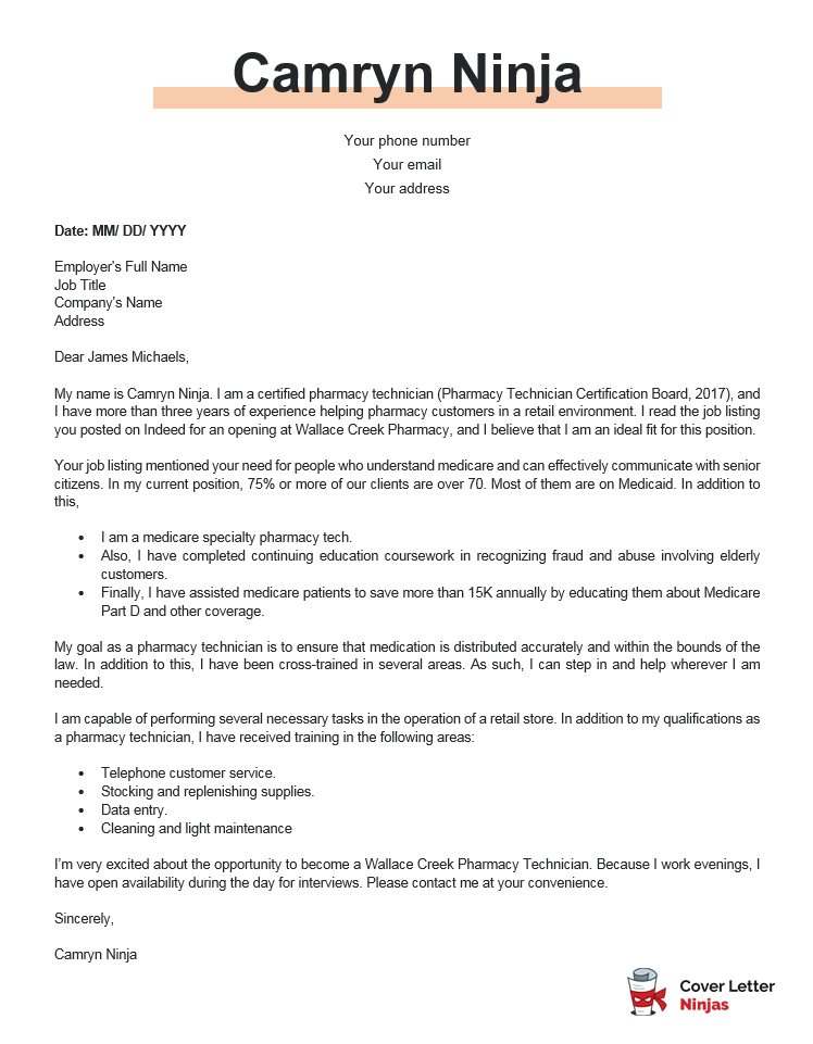 pharmacy technician cover letter example