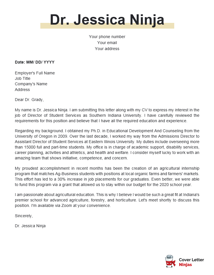 director of student services cover letter example