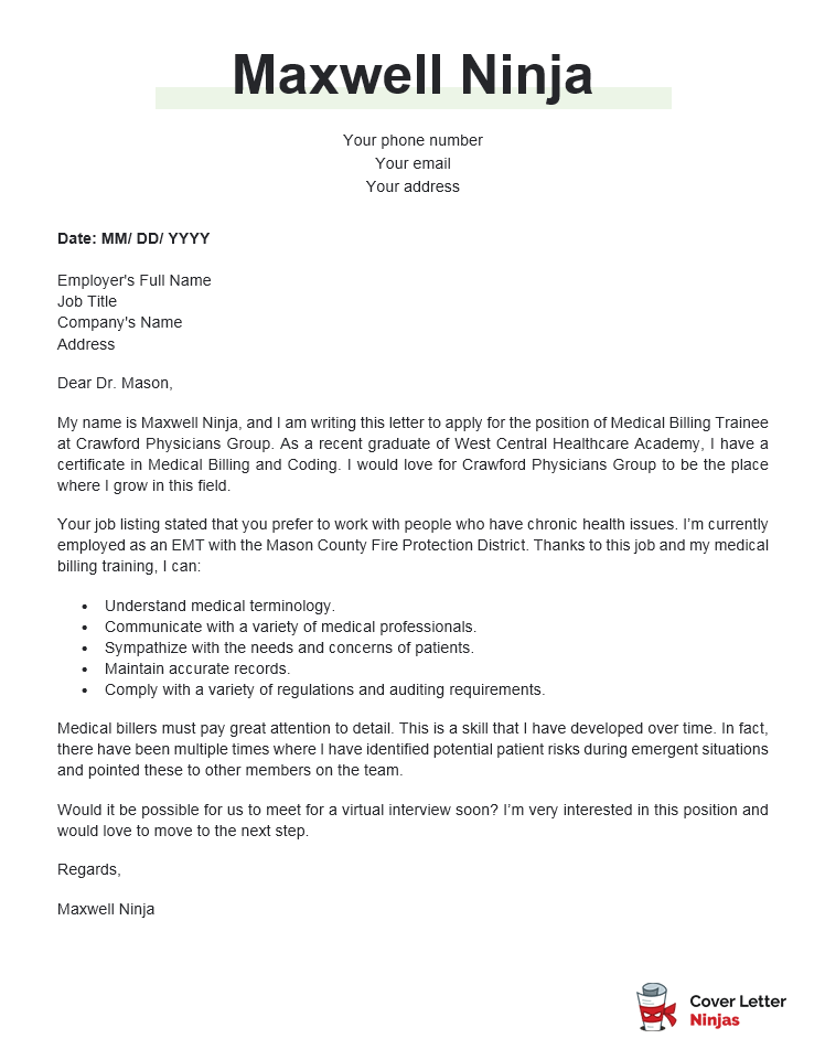 medical billing cover letter example for Word