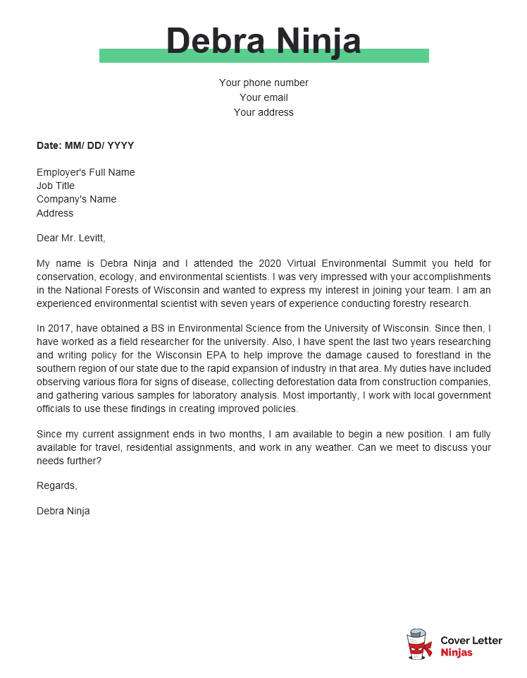 environmental science cover letter example