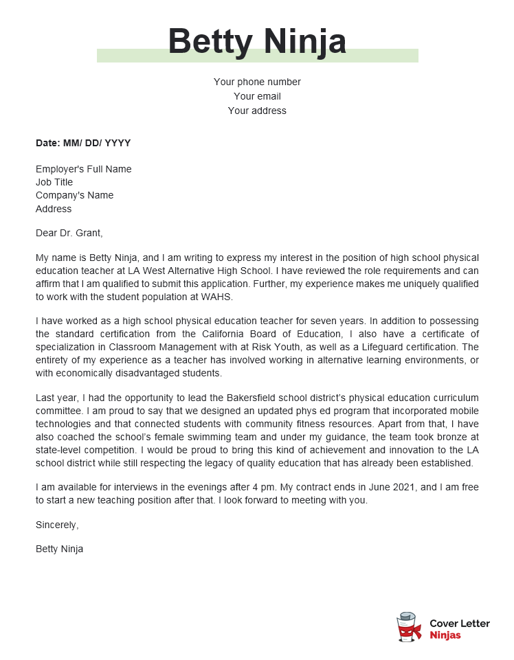 physical education cover letter example