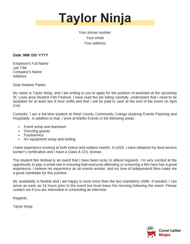 cover letter sample for film festival