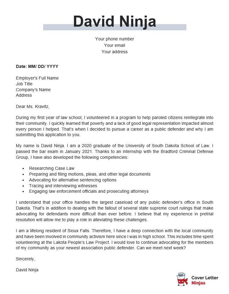 public defender cover letter sample