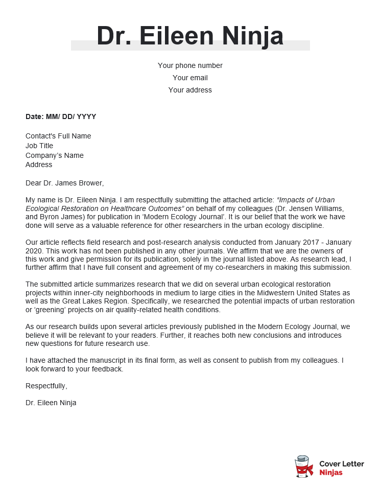 cover letter sample for journal submission